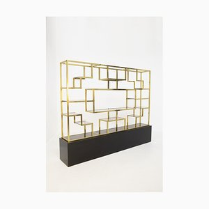 Italian Vintage Bookcase in Brass, Glass and Wood