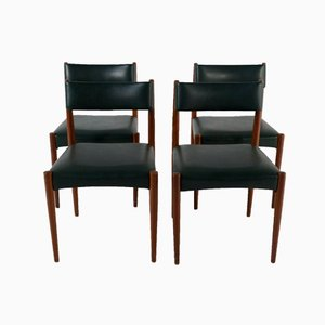 Teak & Green Leatherette Dining Chairs, Set of 4