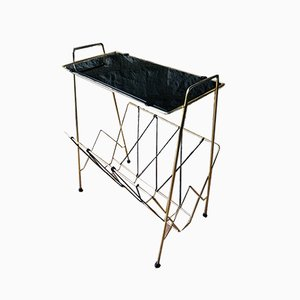 Brass and Glass Side Table with Shelf and Magazine Rack, 1960s