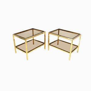 Glass and Steel Side Tables in the Manner of Willy Rizzo, 1960s, Set of 2