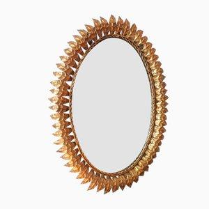 Oval Gilt Metal Mirror with Leaf Frame, Spain, 1960s