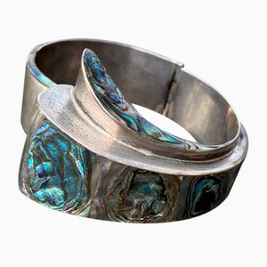 Vintage MCM Taxco Sterling Silver & Abalone Cuff Clamper Bracelet from EAC