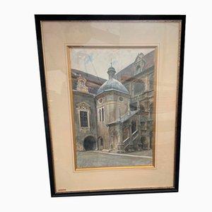 Landhaushof Graz, Watercolor by Anton Nowak