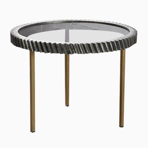 Industrial Free Form Notched Wheel Side Table, France, 1980s