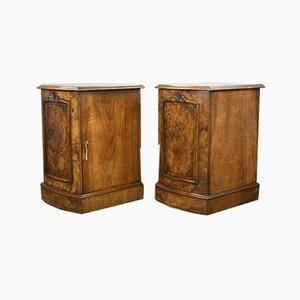 Antique Victorian Burr Walnut Bedside Cabinets, Set of 2