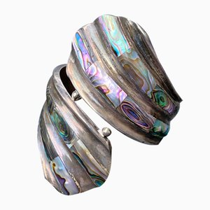 Vintage MCM Taxco Sterling Silver and Abalone Cuff Clamper Bracelet from EAC