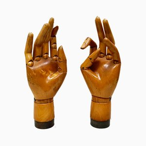 Antique Articulated Wooden Hands, Set of 2
