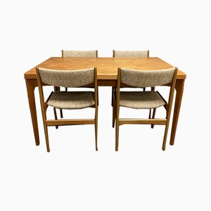 Scandinavian Dining Table & Chairs Set, 1950s, Set of 5