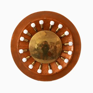 Large Mid-Century Copper & Brass Flush Mount or Wall Lamp, Germany, 1960s