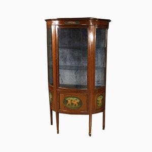 English Half-Moon Display Cabinet in Mahogany and Maple