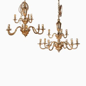 Baroque Style Brass Chandeliers, Set of 2