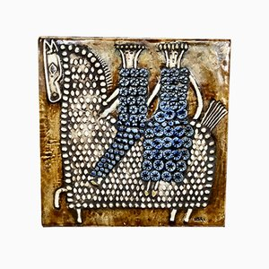 Swedish Ceramic Art Wall Plaque Relief with Riders & Horse Motif by Lisa Larson for Gustavsberg, 1960s