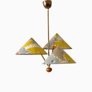3-Armed Pendant Lamp by Rupert Nikoll, Austria, 1950s