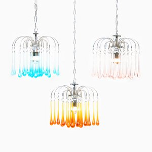 Murano Glass Waterfall Chandeliers by Paolo Venini, 1960s, Set of 3