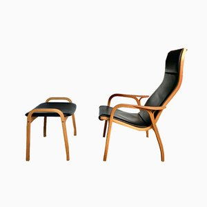 Swedish Leather Lamino Lounge Chair and Stool in Oak by Yngve Ekström for Swedese, Set of 2
