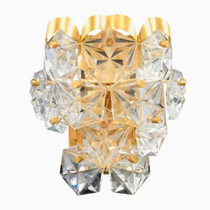 Labelled Faceted Crystal and Gilt Sconce / Wall Lamp from Kinkeldey, Germany, 1970s