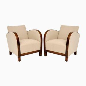 Swedish Art Deco Satin Birch Armchairs, Set of 2