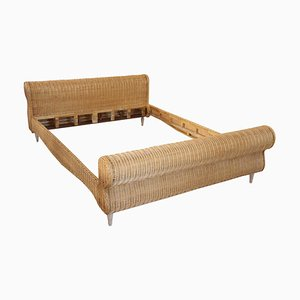 Vintage Hand Woven Rattan Double Bed, 1980s