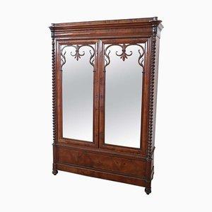 Antique Walnut Wardrobe with Mirror, 1825