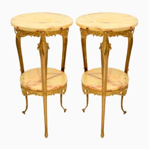 Antique French Brass and Onyx Side Tables, Set of 2