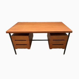 Vintage Scandinavian Style Double Sided Teak and Metal Desk with 6 Drawers, 1960s