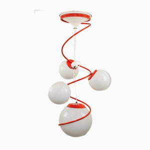 Space Age Orange & White 4-Light Ceiling Lamp in the Style of Gino Sarfatti, 1970s