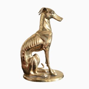 Vintage Brass Statue of Greyhound Dog, France, 1970s