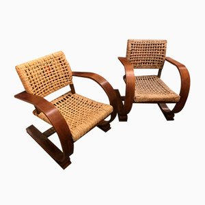Rope Armchairs by Adrien Audoux and Frida Minet, 1960s, Set of 2
