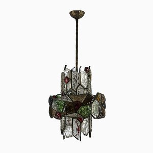 Italian Brutalist Iron and Cut Glass Chandelier, 1970s