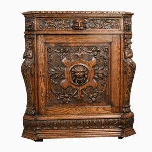 Antique Carved Oak Green Man Corner Cupboard