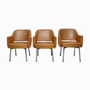 Deauville Leather Armchairs by Marc and Pierre Simon for Airborne, 1960s