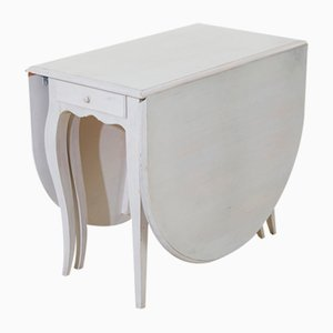 Folding Table in Antique White with Rounded Edges