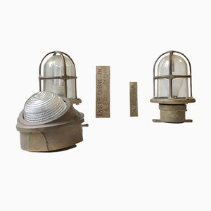 Vintage Italian Marine Ship Lights in Bronze from Miletich, 1970s, Set of 3