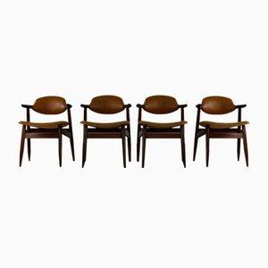 Dutch Cow Horn Propos Dining Chairs by Louis Van Teeffelen for Tijsseling Nijkerk, Set of 4