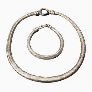 Snake Necklace & Bracelet in 925 Sterling Silver, Set of 2