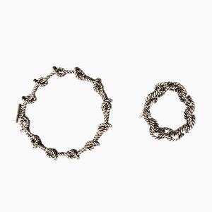 Collar y pulsera de bucle en plata esterlina 925