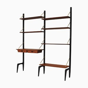 Wall Unit in Teak and Brass by Louis Van Teeffelen for Wébé, The Netherlands, 1950s, Set of 10
