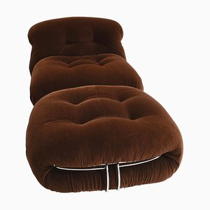 Soriana Chair and Pouf by Tobia Scarpa for Cassina, 1970s, Set of 2
