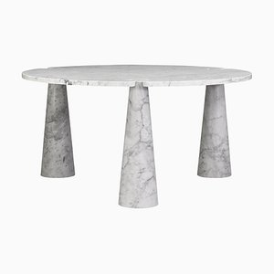 Eros Round Dining Table in Carrara Marble by Angelo Mangiarotti for Skipper, Italy, 1970s