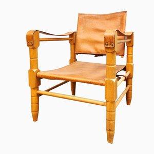Vintage Leather Safari Chairs, Set of 2