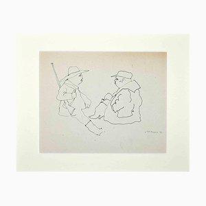 Mino Maccari, Hunters, Original Drawing on Paper, 1970s