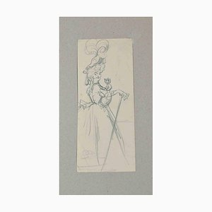 Unknown, Dancing, Original Drawing on Paper, Late 19th-Century