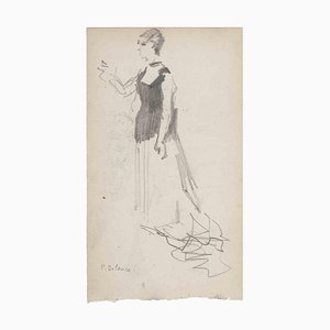 Unknown, Figure, Original Drawing in Pencil, Late 19th-Century