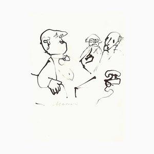 Mino Maccari, Conversation, Original Drawing on Paper, 1970s