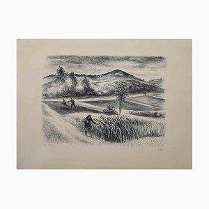 Robert Lotiron, Landscape, Original Lithograph, Mid-20th-Century