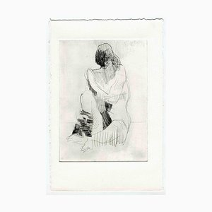Unknown, Two Faces Nude, Original Etching and Drypoint, Mid-20th-Century