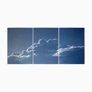 Triptych of Serene Cloudy Sky, Handmade Cyanotype, Print on Paper, 2021