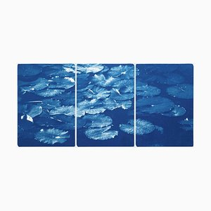 Lilypad Pond Triptych, Large Cyanotype on Watercolor Paper, 2021