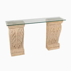 French Empire Carved Sandstone Acanthus Leaf Plinths with Glass Top Console Table, Set of 2