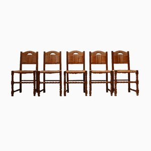 Mid-Century French Rush Dining Chairs, Set of 5